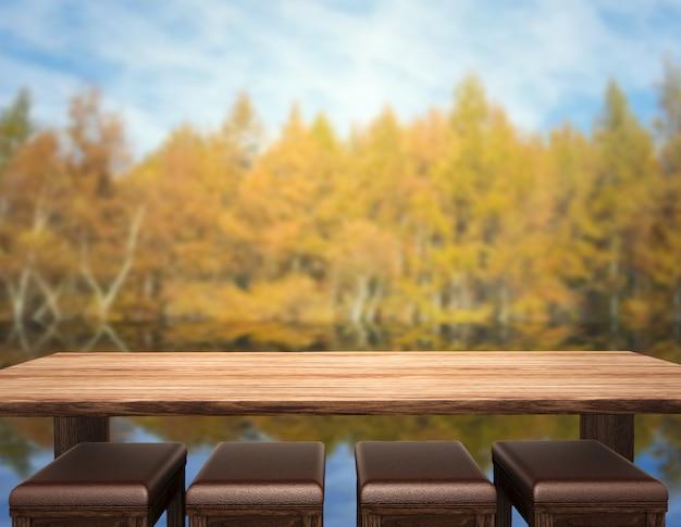 Tischplatte und verwischen natur