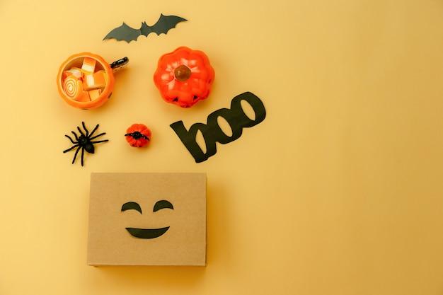 Tischplatteansichtvogelperspektive der dekoration glücklicher halloween-tageshintergrund
