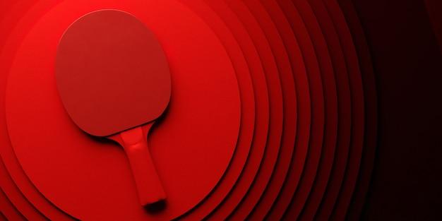 Tischtennis oder tischtennisschläger. turnierplakatdesign auf abstrakter farbkreis-hintergrund-3d-illustration