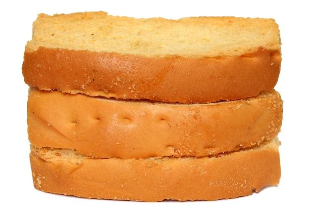 Toastkekse isoliert auf weißem hintergrund