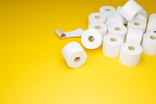 Toilettenpapier auf gelbem hintergrund, panikkauf von toilettenpapier i und ausverkauft wegen covid-19-ausbruch und sperrung, 3d-illustrationen