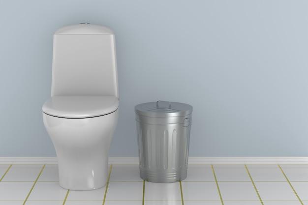 Toilettenschüssel in wasserklosett. 3d-rendering