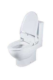 Toilettenschüssel mit hygienischem sitz. elektronische zuführung von zellophan. isoliert