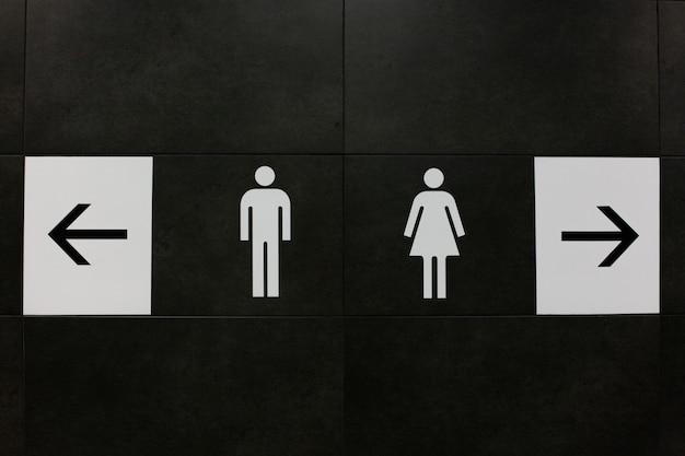 Toilettensymbol, trennungssymbol im eingang zur toilette.