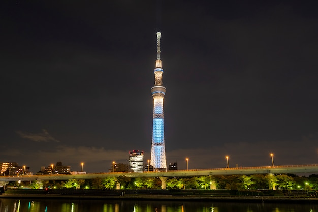 Tokyo skytree nachts in japan