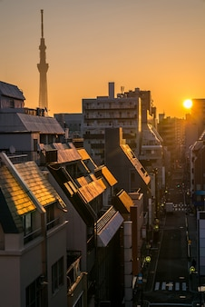 Tokyo skytree sonnenaufgang ueno