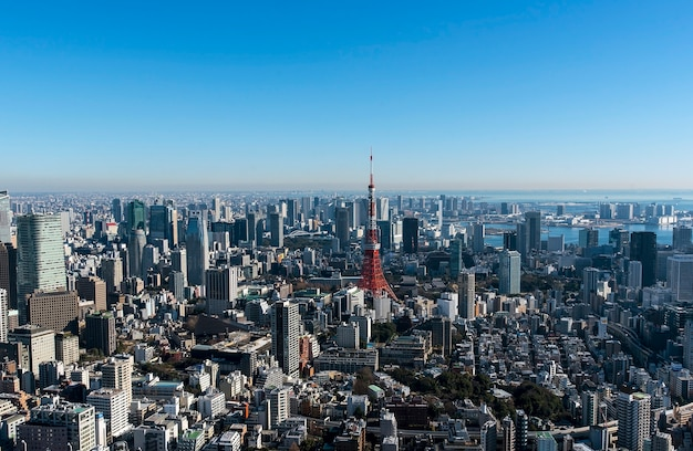 Tokyo tower und tokyo-stadtbild, panoramablick am tag in tokyo, japan