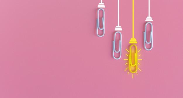 Tolles ideenkonzept mit büroklammer, denken, kreativität, glühbirne auf blau, neues ideenkonzept.
