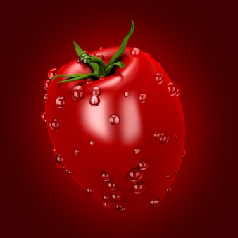 Tomate auf rot. 3d-illustration, 3d-rendering.