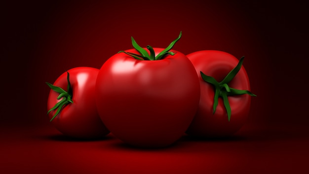 Tomaten auf rot. 3d-illustration, 3d-rendering.