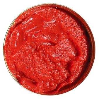 Tomaten-doppelkonzentrat dose isoliert über weiß