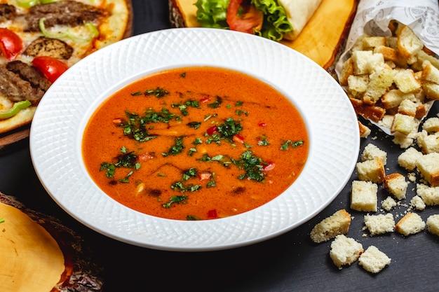 Tomatensuppe von der seite mit gemüse und brot zwieback auf dem tisch