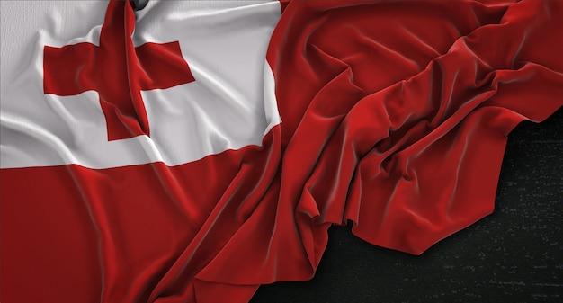 Tonga-flagge auf dunklem hintergrund gestrickt 3d render