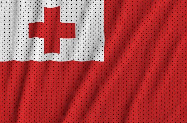 Tonga-flagge, gedruckt auf einem sportswear-netzgewebe aus polyester-nylon