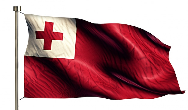 Tonga nationalflagge isoliert 3d weißen hintergrund