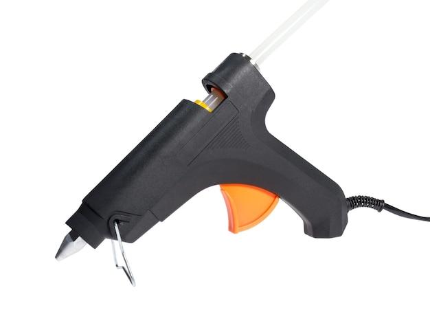 Tools-sammlung - elektrische heißklebepistole isoliert auf weißem hintergrund.