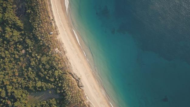 Top down der tropischen landschaft an der ozeanbucht mit sandstrandantenne. niemand natur seelandschaft von grün