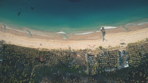 Top down von philippinen paradies resort an sea bay antenne. niemand naturlandschaft mit grünem wald