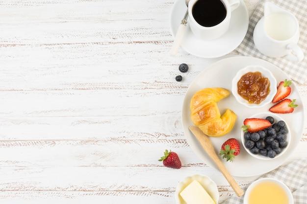 Top view leckeres frühstück