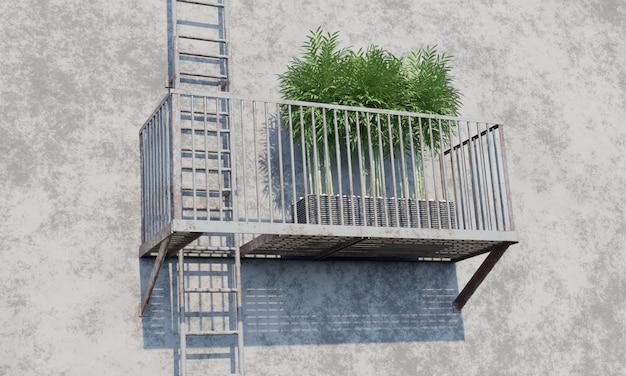 Topfpflanzen auf feuerleitertreppe 3d-rendering
