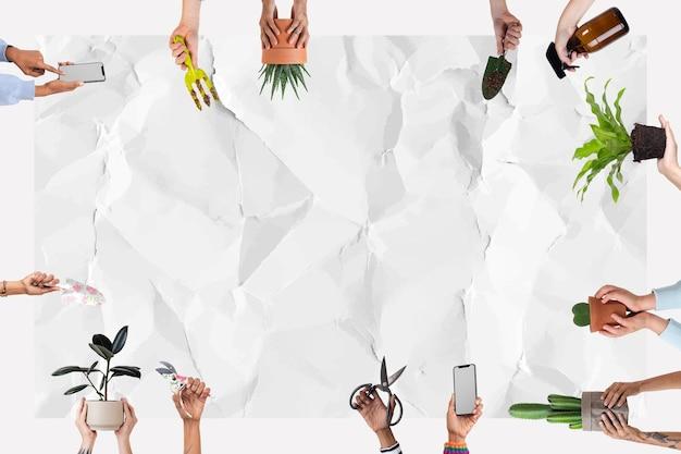 Topfpflanzenhintergrund mit zerknittertem papierbeschaffenheitsleerraum