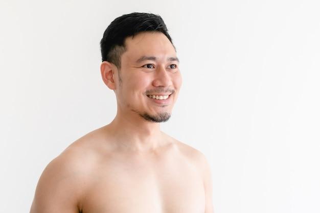Topless porträt eines glücklichen mannes auf isoliert