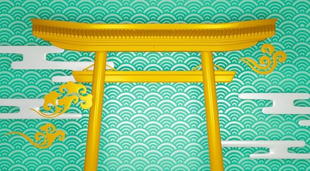 Torii geometrisches podium japanisches traditionspodest.