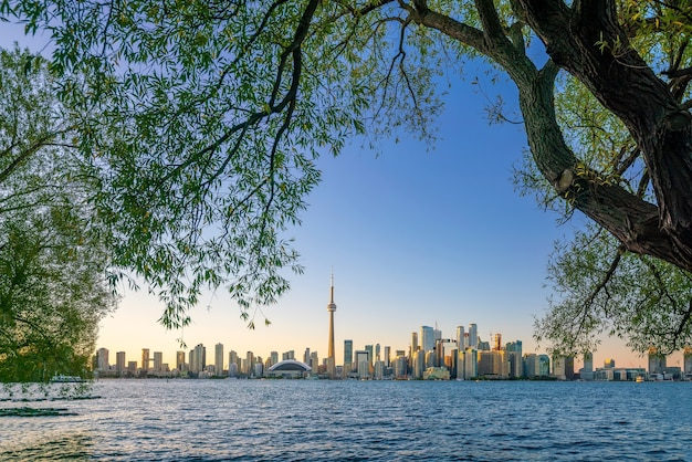 Toronto city skyline bei sonnenuntergang in ontario, kanada