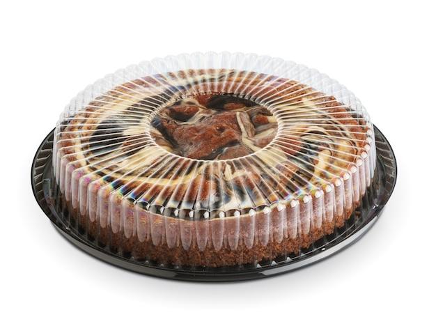 Torte in transparenter box isoliert mit beschneidungspfad