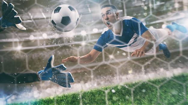 Torwart fängt den ball im stadion während eines fußballspiels