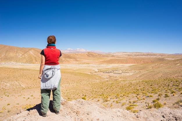 Tourist, der ansicht über die bolivianischen anden betrachtet