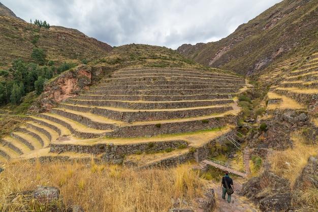 Tourist, der die inka-spuren und die majestätischen terrassen von pisac, heiliges tal, hauptreiseziel in cusco-region, peru erforscht. urlaub und abenteuer in südamerika.