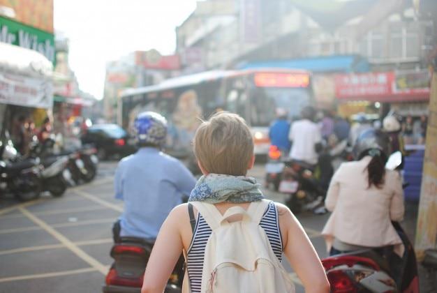 Tourist in der stadt