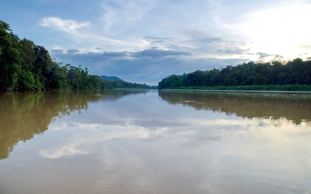 Touristen auf einer bootsfahrt entlang des flusses kinabatangan, einer der vielfältigsten artenvielfalt in borneo.