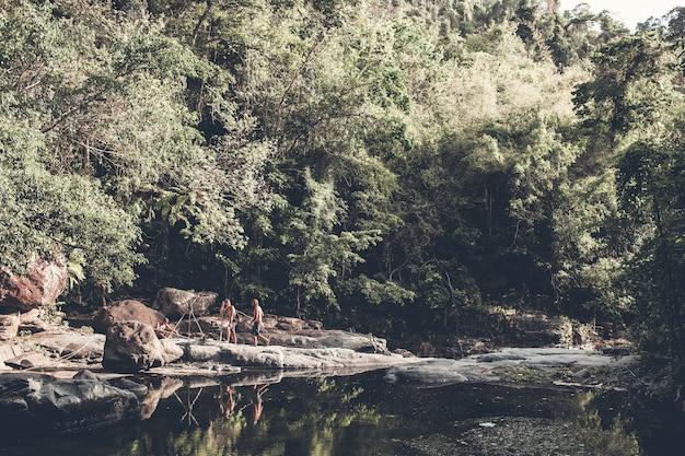 Touristen gehen durch den wald