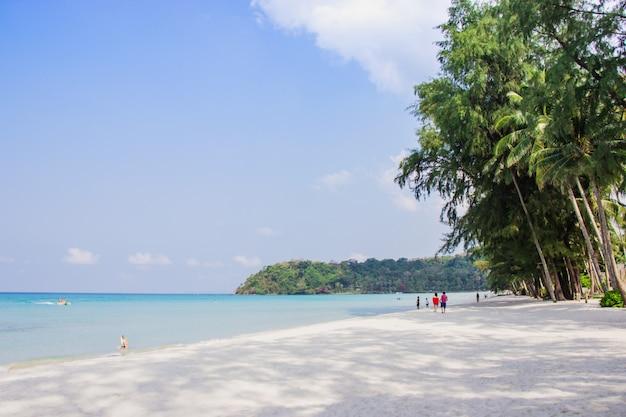 Touristischen spaziergang sehen sie das panorama des weißen sandstrandes auf haad khlong chao.