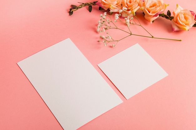 Tow blätter aus leerem papier und rosen