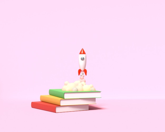 Toy rocket hebt von den büchern ab und spuckt rauch auf rosa 3d-rendering