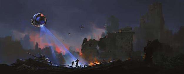 Tracker jagen überlebende menschen in den ruinen, science-fiction-illustration.
