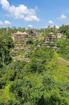 Traditionelle balinesische häuser mit panoramablick auf dschungel, tropischen regenwald und berge, ubud, insel bali, indonesien