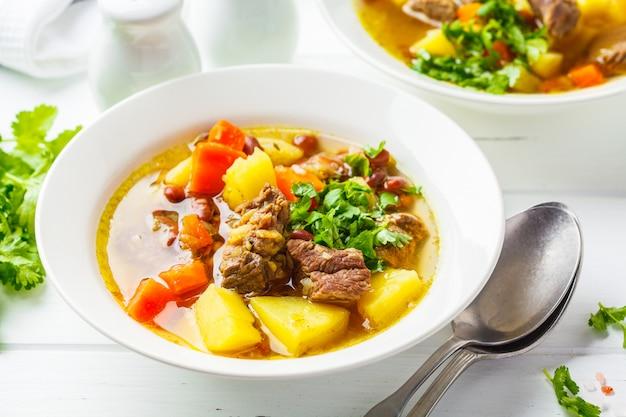 Traditionelle eintopfsuppe mit fleisch, bohnen und gemüse in einer weißen platte, weißer hintergrund.