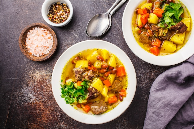 Traditionelle eintopfsuppe mit fleisch, bohnen und gemüse in einer weißen platte.