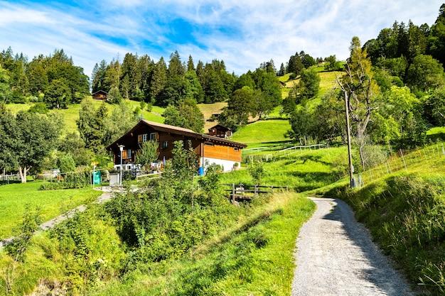 Traditionelle holzhäuser im bergdorf wengen schweiz