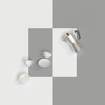 Traditionelle italienische kaffeemaschine und keramische schalen auf weiß und grau