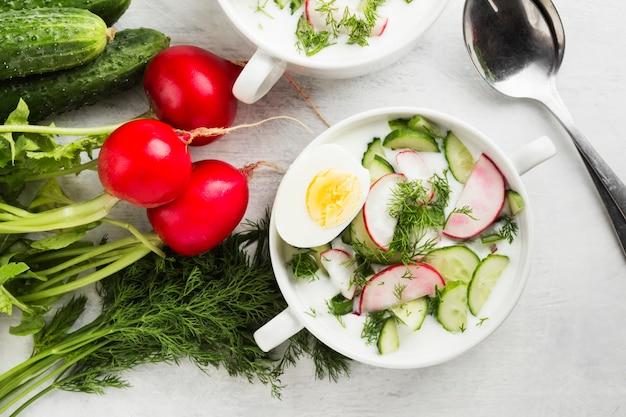 Traditionelle kalte russische suppe mit kefir, gurke, rettich, ei und petersilie