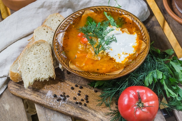 Traditionelle russische sauerkohlsuppe (shchi) mit sauerrahm