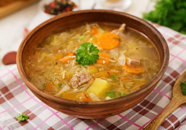 Traditionelle russische suppe mit kohl
