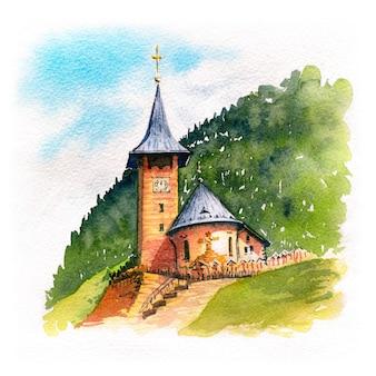 Traditionelle schweizer dorfholzkirche in den bergen, schweiz
