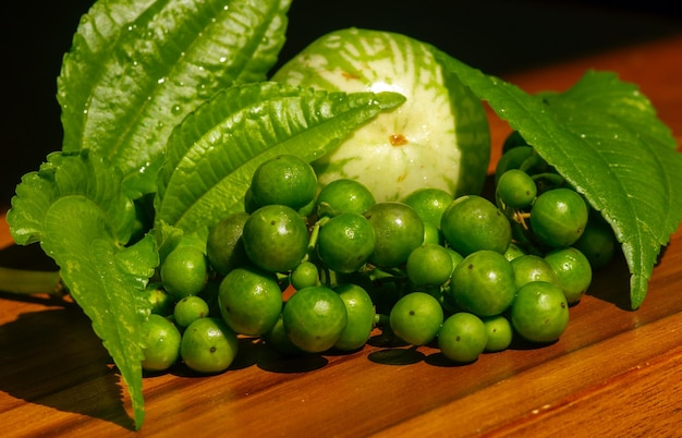Traditionelle sundanesische rohsalate leunca solanum nigrum im flachen fokus. daun pohpohan pilea melastomoides. eine runde aubergine solanum melongena, sehr beliebt in west java indonesien