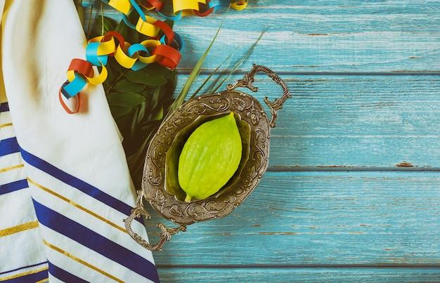 Traditionelle symbole für das jüdische fest von sukkot